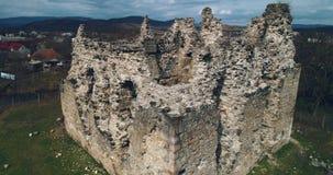 空中射击:骑士Templar的古老城堡的废墟 股票录像