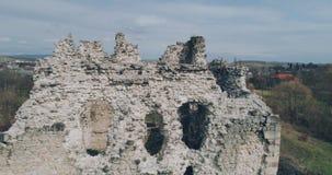 空中射击:骑士Templar的古老城堡的废墟 影视素材