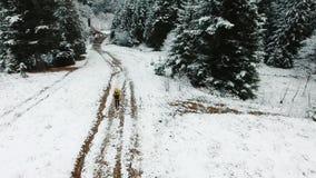 空中射击 有背包的一个人在冬天去山 观看自上在多雪的道路 影视素材