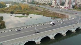 空中射击 背景桥梁城市街道画grunge例证样式称呼了都市向量 股票视频