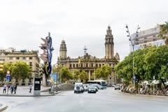 空中巴塞罗那barceloneta都市风景colom哥伦布column de district passeig权利被看到的街道视图 图库摄影
