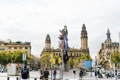 空中巴塞罗那barceloneta都市风景colom哥伦布column de district passeig权利被看到的街道视图 免版税库存照片