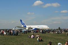 空中巴士新飞机准备的380采取 库存照片