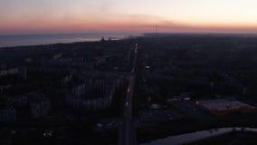空中录影 交通在城市在晚上 股票录像