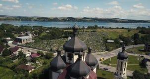 空中教会城市Burshtyn,乌克兰 股票录像