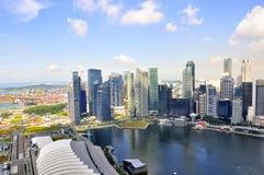 空中新加坡地平线摩天大楼视图 免版税库存照片