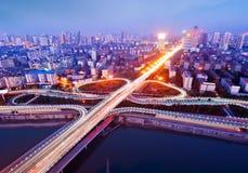 空中桥梁俯视采取了 库存图片