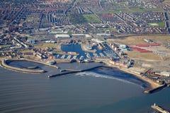 空中沿海城市 免版税图库摄影