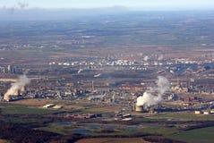 空中沿海工业重镇 图库摄影