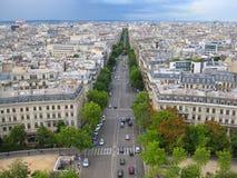 空中法国巴黎街道视图 图库摄影