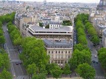空中法国巴黎街道视图 免版税库存照片