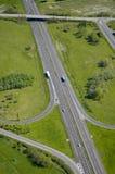 空中法国高速公路机动车路视图 库存图片