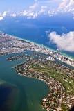 空中海岸线迈阿密 库存照片