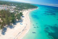 空中海滩加勒比视图 免版税库存图片