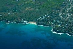 空中海滩大海岛魔术铺沙射击白色 库存图片