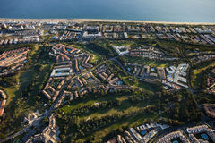 空中海滩islantilla视图 库存图片