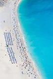 空中海滩myrtos视图 库存图片