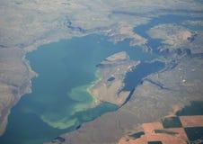 空中湖大视图 库存照片