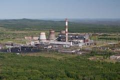 空中炼油厂视图 库存照片