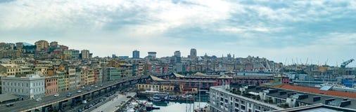 空中热那亚镇都市风景风景 库存图片