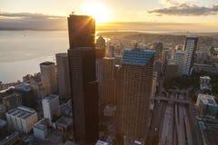 空中照片城市地平线,西雅图,华盛顿,美国 免版税图库摄影