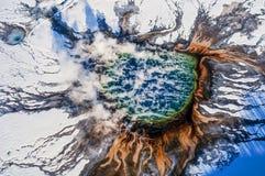 空中照片黄石公园盛大多彩 图库摄影