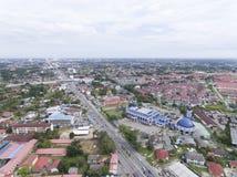 空中照片-苏丹伊斯梅尔Petra清真寺位于哥打巴鲁,吉兰丹,马来西亚 库存图片