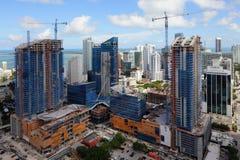 空中照片Brickell市中心迈阿密 免版税图库摄影