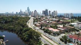 空中照片Broadbeach,昆士兰,澳大利亚 图库摄影