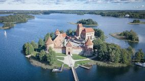 空中特拉凯城堡在维尔纽斯立陶宛 库存图片