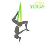 空中瑜伽商标模板 反地心引力的瑜伽 图库摄影
