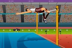 空中的公跳高运动员在酒吧 库存图片