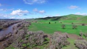 空中直升机射击了绿色领域和河 股票视频