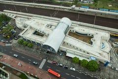 空中看看Petrzalka火车站在布拉索夫 免版税图库摄影