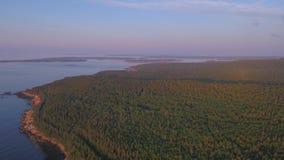空中缅因阿科底亚国家公园2017年7月日出4K启发2 股票录像