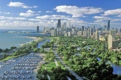 空中芝加哥伊利诺伊视图 库存图片