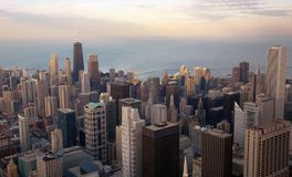 空中芝加哥视图 免版税库存图片
