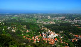 空中葡萄牙sintra视图 免版税库存图片