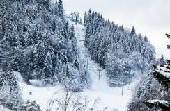 空中览绳在滑雪的滑雪电缆车在冬天风景倾斜在朱利安阿尔卑斯山,克拉尼斯卡戈拉,斯洛文尼亚 图库摄影