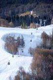 空中览绳在多雪的滑雪倾斜背景美好的冬天垂直风景的推力客舱 图库摄影