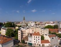 空中贝尔格莱德都市风景在塞尔维亚 免版税库存图片