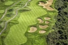 空中路线高尔夫球视图 库存照片