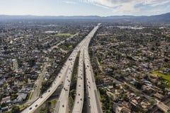 空中路线118高速公路在洛杉矶 图库摄影