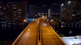 空中迈阿密Aventura夜地平线 库存图片