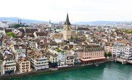 空中都市风景视图苏黎世 免版税库存图片