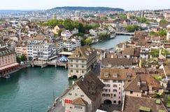 空中都市风景视图苏黎世 免版税库存照片