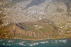 空中金刚石夏威夷顶头视图 库存照片