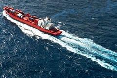 空中集装箱船视图 图库摄影