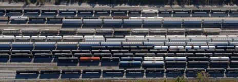空中顶上的模式铁路车 库存照片