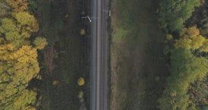 空中顶视图射击了在秋天树之间的铁路在森林里在10月 免版税库存图片